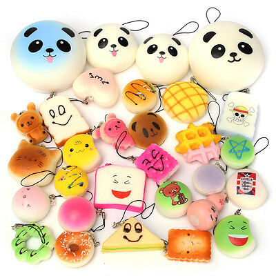 12PCS Soft Squishies Foods Panda Bun Toast Donuts Chaims Cell Phone Chain Straps