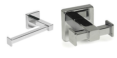 Square Chrome Loo Toilet roll holder or Robe Hook Shiny glossy Modern look