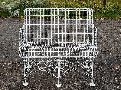 Antique Victorian Iron Metal Wire Patio Furniture Settee Very Scarce