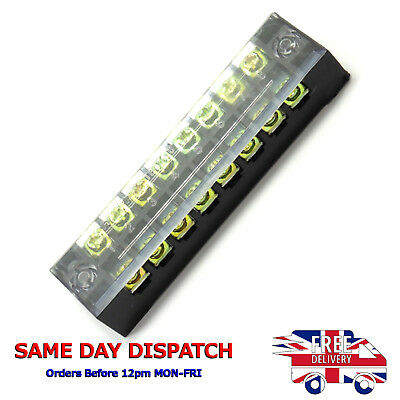 600V 15A 8 Positions Dual Rows Covered Barrier Screw Terminal Block Strip #A84