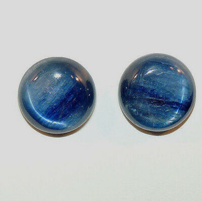 Kyanite 14mm with 4mm dome Cabochons Set of 2 (8933a)