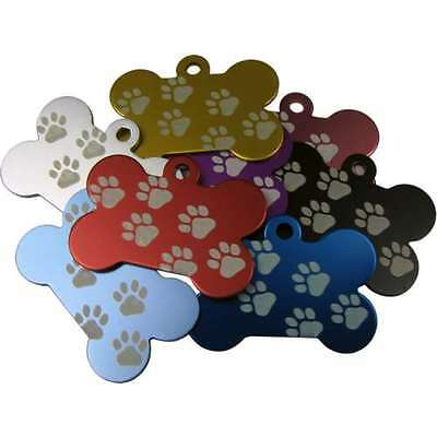 Bone Shaped W/Paw Anodised 38mm Engraved Pet ID Tags Discs Disk Dog Cat Identity