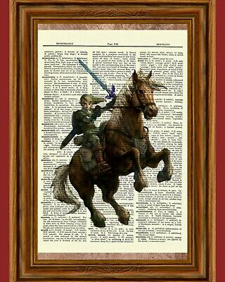 Legend of Zelda Link Dictionary Art Print Poster Picture Video Game Horseback