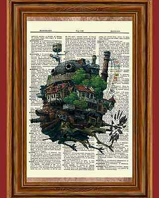Howl's Moving Castle Dictionary Art Print Poster Picture Anime Howls Movie