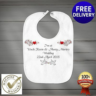 Fully Personalised Wedding Day Baby Bib Perfect Gift  or Favour.