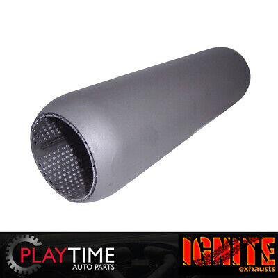 """Redback Hotdog Muffler Perforated 2.5"""" in & out 12"""" long with Glass Packing"""