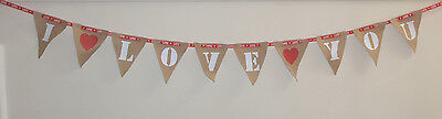 Party Bunting Your Words Fabric Hessian Vintage Style Bunting Flags