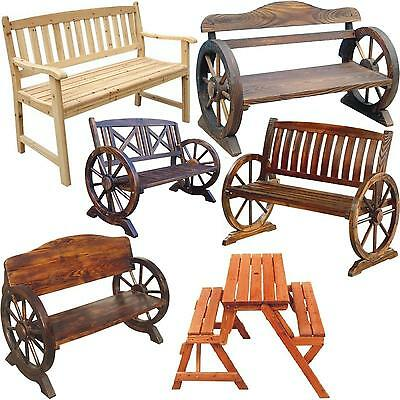 Wooden Garden Bench Seat Burnt Wood Outdoor Park Patio 2 3 Seater Benches