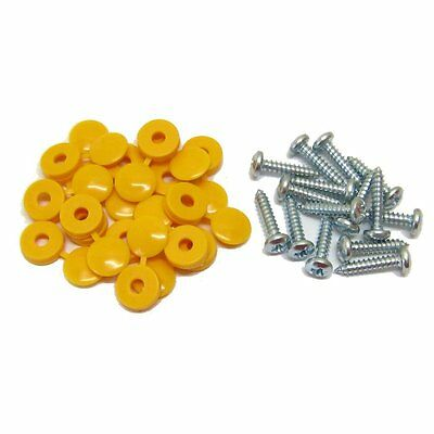 16 x Yellow Hinged Cap Number Plate Fitting Fixing Self Tapping Screws