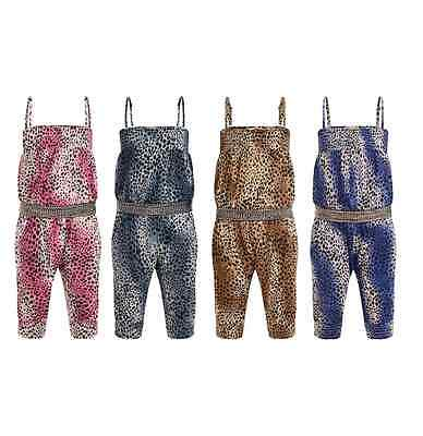 Kids Girls Animal Print 3/4 Jumpsuit Summer Party Playsuit Holiday Dresses 2-13Y