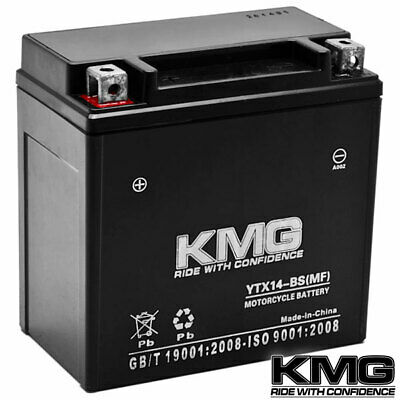 12 Volt Sealed Maintenace Free Performance Powersport Battery by KMG - YTX14-BS
