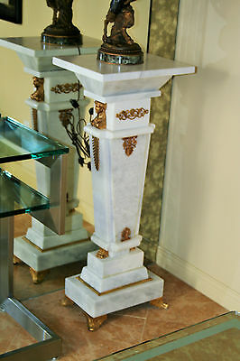 Empire Louis XIV Style Marble Pedestals with Cast Bronze 24kt Dore Gold   (Pair)