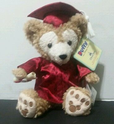 "Disney Parks 2015 Graduation Duffy Bear Plush Stuffed Mickey Toy 12"" Red Gown"
