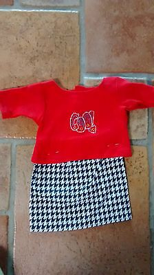 houndstooth skirt red knit top will fit 23 inch My Twinn doll Handmade and new