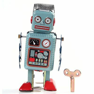 Wind Up Robot Tin Metal Mechanical Walking Clockwork Toy Vintage Retro Collector