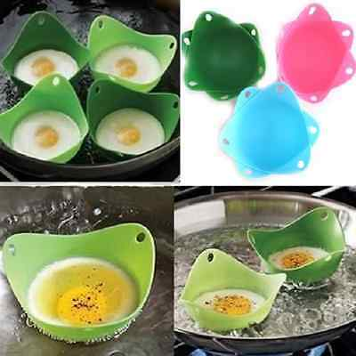4 x Silicone Silicon Egg Poacher Poaching Chooks Twin Pods Pack Cookware Kitchen