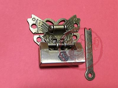 Chinese Old Vintage Padlock Butterfly Lock Latch Clasp For Cabinet Jewelry Box