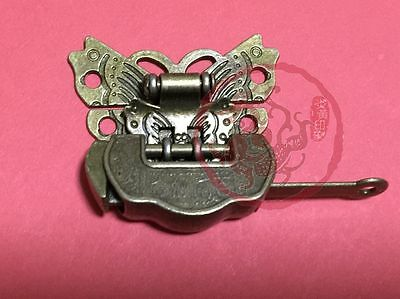 Carved Sycee Blessing Lock Butterfly Lock Latch Clasp For Cabinet Jewelry Box