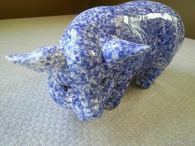 Ceramic pig display figurine, blue and white speckled, country chic and casual