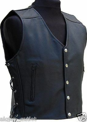 Mens Leather Vest / Waistcoat for Bikers Fashion
