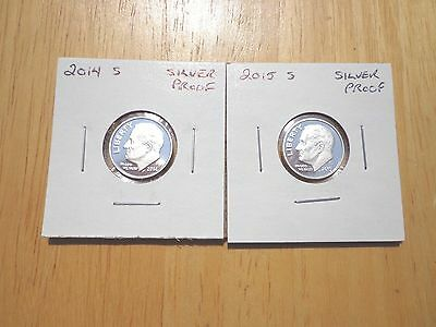 2014 S 2015 S Silver Proof Roosevelt Dime 2 Coin Set Lot