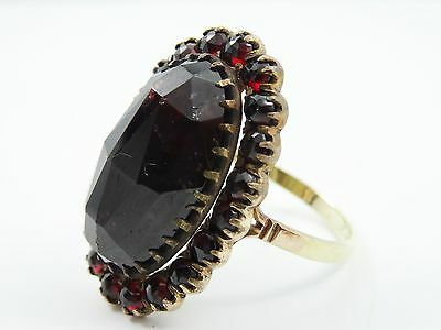 DISTINCTIVE 1920's GERMANY 14k GOLD BOHEMIAN HUGE GARNET RING sz 8.5
