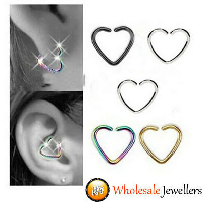 1pc New 316L Steel Heart Daith Helix Cartilage Tragus Septum Hoop Ring Piercing