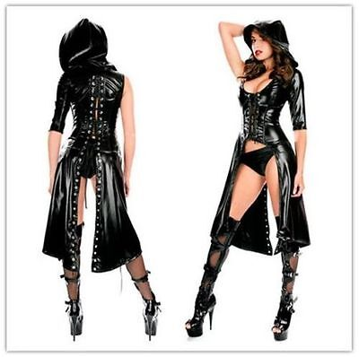 Women PVC Leather Wetlook Hooded Dress Up Catsuit Fetish Lingerie Brief Clubwear