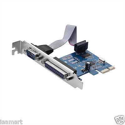 PCI-E PCI Express DB25 Parallel LPT1 DB9 RS232 Serial Port Card Adapter
