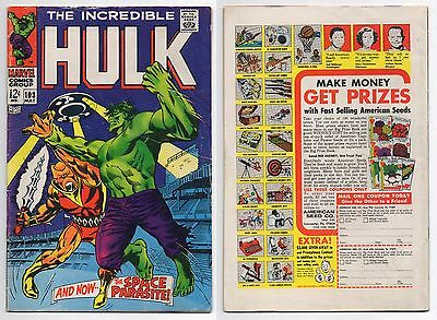 Incredible Hulk #103 Fn+ 6.5 1St Appearance Space Parasite! Thunderbolt Ross