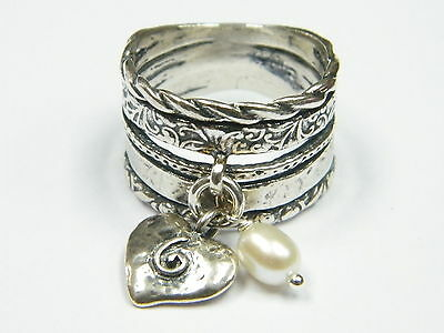 R01718SP Valentine's Sterling Silver Texture Ring With Heart And Pearl Dangle