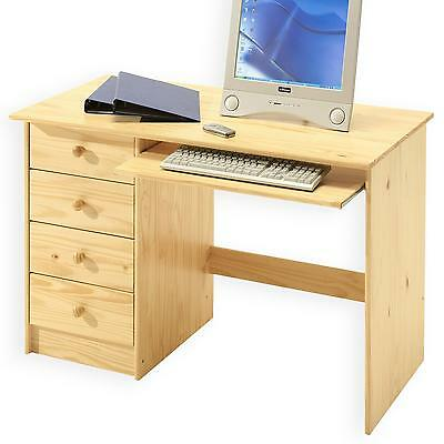 Bureau enfant multi rangements tiroirs support clavier pin massif vernis naturel