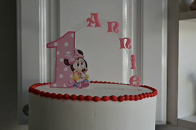 Baby Minnie Mouse 1st PERSONALIZED cake topper orANY character Cake Decoration