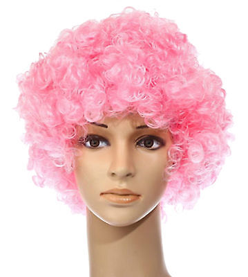 Pink 70'S Curly Afro Fancy Dress Funky Mens Wig Wigs Disco Clown Costume Hair