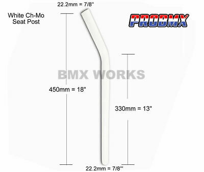 Seat Post 22.2mm x 450mm White Ch-Mo Layback - Old School Vintage BMX