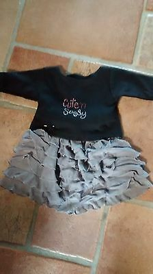 grey ruffled skirt with black shirt sparjkly applique handmade and new