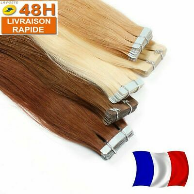 10/20/30/40 Extensions De Cheveux Tape Bandes Adhesive Pose A Froid Naturel Remy