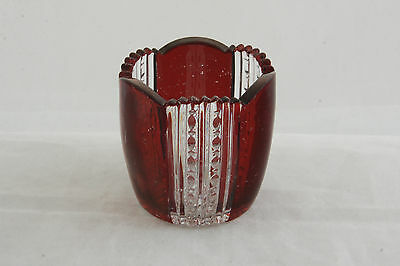 National Glass Mckee Crystal Ruby Stain Union Pattern Toothpick Holder Eapg