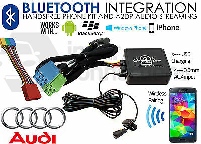 Audi A4 1997-2006 Bluetooth Musica in Streaming Kit Vivavoce per Auto Aux USB