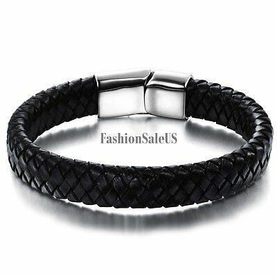 Black Leather Braided Stainless Steel Magnetic Buckle Men's Bracelet Bangle Cuff