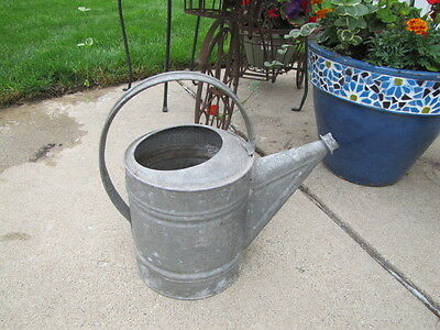 Large Vintage Galvanized Watering Can Rustic Farm 50's Great Patini