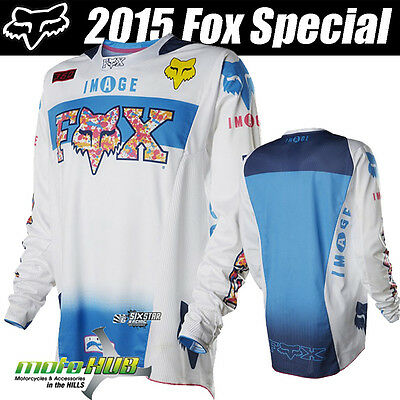 Fox 15 360 Image Jersey LE White Blue MX Motocross Sport Off Road DirtBike Shirt