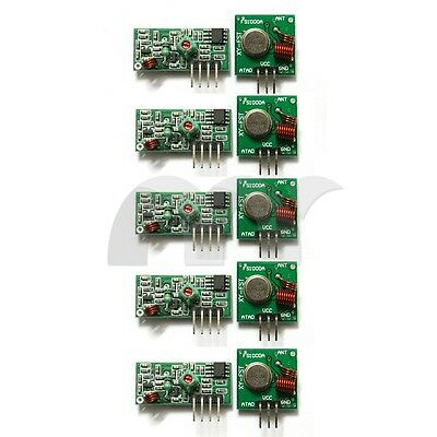 5x 433Mhz RF Transmitter Module and Receiver Link Kit for Arduino ARM MCU WL