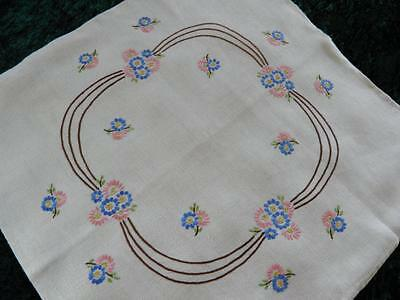 Vintage Linen Cushion Cover Hand Embroidered Flowers Large 50cm