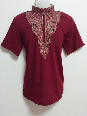 Maroon Mans Kurta Shirt Indian Costume Shorts sleeves,soft (no stock)