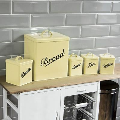 5 Piece Canister Set Cream Bread Bin Sugar Coffee Tea Biscuits By Home Discount