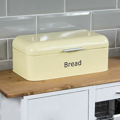 Curved Bread Bin Cream Steel Kitchen Top Storage Loaf Box New By Home Discount