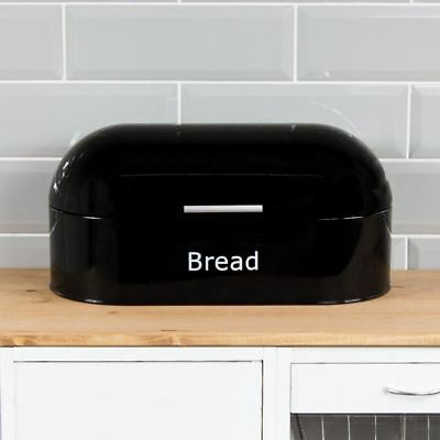 Retro Bread Bin Black Steel Kitchen Top Storage Loaf Box New By Home Discount
