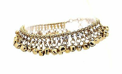 Antique Gold Silver Ankle Chain Anklet Indian Payal Foot Chain With Bells (21/22