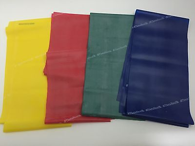 Yellow Red Blue green 4 Thera Band Exercise Resistance Latex Band